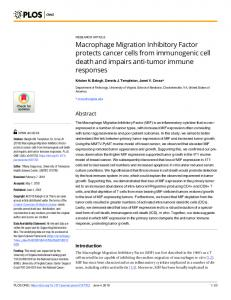 Macrophage Migration Inhibitory Factor protects cancer cells ... - PLOS