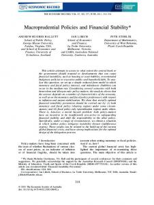 Macroprudential Policies and Financial Stability - SSRN papers