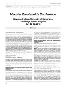Macular Carotenoids Conference - European Journal of Ophthalmology