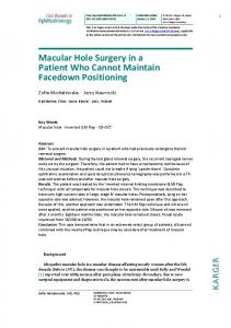 Macular Hole Surgery in a Patient Who Cannot Maintain ... - CiteSeerX