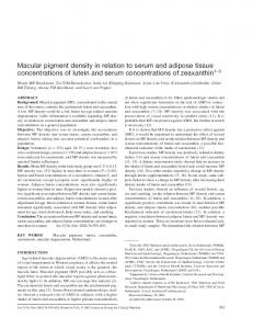 Macular pigment density in relation to serum and