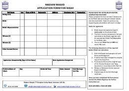 MADANI MASJID APPLICATION FORM FOR NIKAH