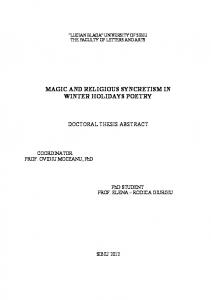 magic and religious syncretism in winter holidays ... - Doctorate ULBS