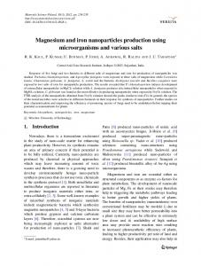 Magnesium and iron nanoparticles production using microorganisms ...