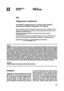 Magnesium in depression - Institute of Pharmacology, Polish ...