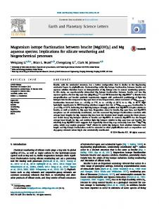 Magnesium isotope fractionation between brucite - Department of