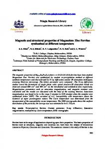 Magnetic and structural properties of Magnesium Zinc ... - iMedPub