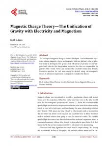 Magnetic Charge Theory—The Unification of Gravity with Electricity ...