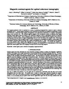 Magnetic contrast agents for optical coherence ... - UNC Physics