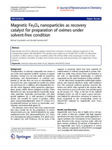 Magnetic Fe3O4 nanoparticles as recovery catalyst for ... - Springer Link