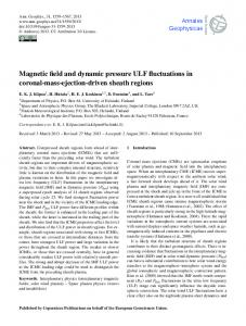 Magnetic field and dynamic pressure ULF fluctuations in coronal-mass ...