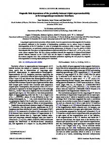 Magnetic field dependence of the proximity ... - APS Link Manager