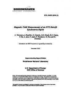 Magnetic Field Measurements of an HTS Retrofit Synchrotron Dipole