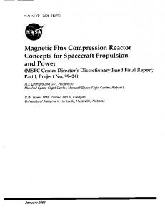 Magnetic Flux Compression Reactor Concepts for Spacecraft ...