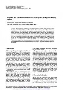 Magnetic flux concentration methods for magnetic energy ... - EPJ WOC