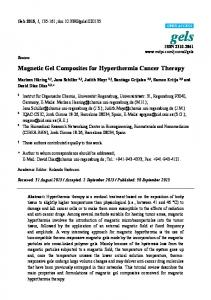 Magnetic Gel Composites for Hyperthermia Cancer Therapy