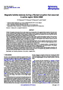 Magnetic helicity balance during a filament eruption that occurred in ...