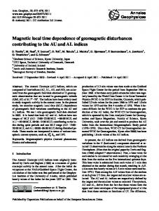 Magnetic local time dependence of geomagnetic disturbances ...