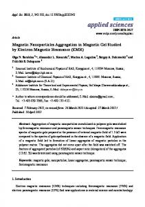 Magnetic Nanoparticles Aggregation in Magnetic ... - Semantic Scholar