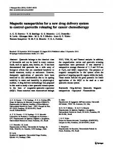 Magnetic nanoparticles for a new drug delivery system to control ...