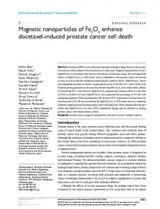 Magnetic nanoparticles of Fe O enhance docetaxel-induced prostate ...