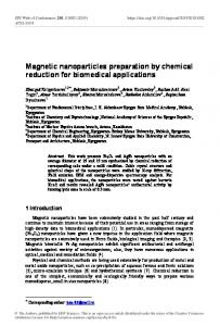 Magnetic nanoparticles preparation by chemical reduction for