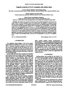 Magnetic properties of Co-Cu metastable solid ... - APS Link Manager