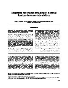 Magnetic resonance imaging of normal lumbar ... - CiteSeerX