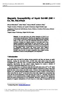 Magnetic Susceptibility of liquid Gd-NM - EPJ Web of Conferences