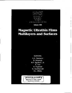Magnetic Ultrathin Films Multilayers and Surfaces