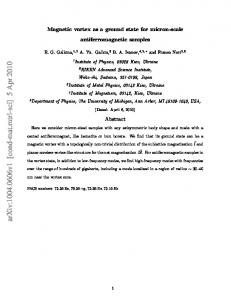 Magnetic vortex as a ground state for micron-scale antiferromagnetic ...