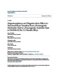 Magnetoresistance and Magnetocaloric Effect at a ...