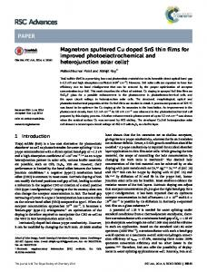 Magnetron sputtered Cu doped SnS thin films for