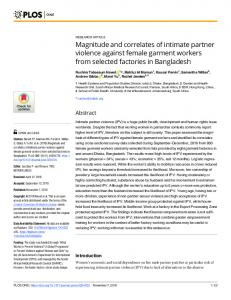 Magnitude and correlates of intimate partner violence against ... - PLOS