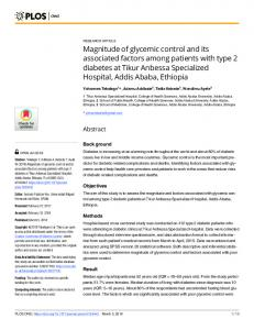 Magnitude of glycemic control and its associated factors ... - PLOS