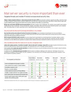 Mail Server Security for Microsoft Exchange - Replace Forefront with ...