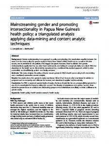 Mainstreaming gender and promoting intersectionality ...