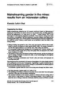 Mainstreaming gender in the mines - ANU