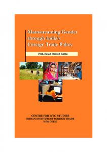 Mainstreaming Gender through India's Foreign Trade Policy.