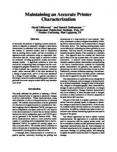 Maintaining an Accurate Printer Characterization - Semantic Scholar
