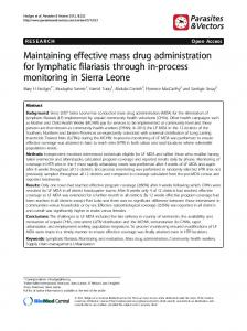 Maintaining effective mass drug administration for ... - BioMedSearch