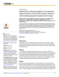 Maintenance of body weight is an important determinant for ... - PLOS