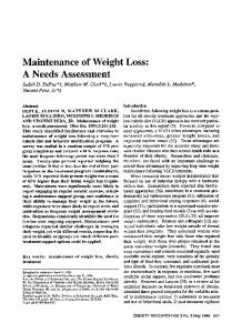 Maintenance of Weight Loss: A Needs ... - Wiley Online Library