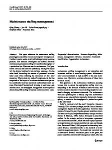 Maintenance staffing management - Springer Link
