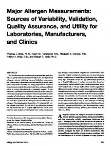Major Allergen Measurements: Sources of Variability ... - CiteSeerX
