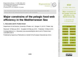 Major constrains of the pelagic food web efficiency in the ...