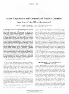 Major Depression and Generalized Anxiety Disorder