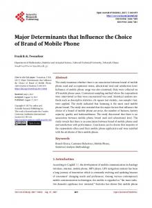 Major Determinants that Influence the Choice of Brand of Mobile Phone