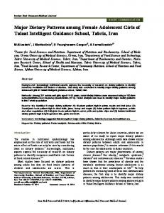 Major Dietary Patterns among Female Adolescent ... - BioMedSearch