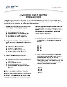 MAJOR FIELD TEST IN BUSINESS SAMPLE QUESTIONS